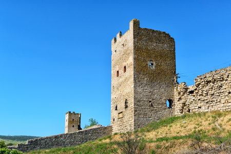 genoese: The Ruins of ancient Genoese fortress in Feodosia, Crimea, Russia