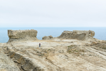 The post apocalyptic view. Excavated fortifications from the Second World War in Feodosia, Crimea, Russia Stock Photo