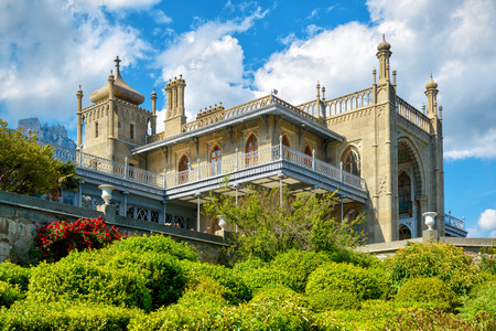 alupka: ALUPKA, RUSSIA - MAY 20, 2016: Vorontsov Palace in the town of Alupka. Vorontsov Palace is one of the attractions of the Crimea.