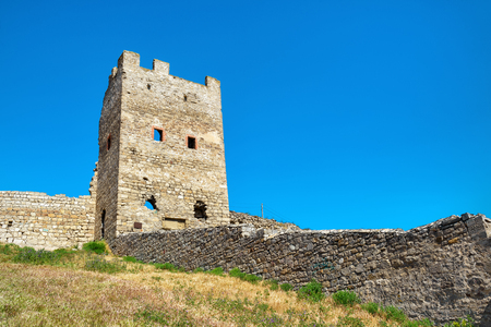 genoese: Ruins of ancient Genoese fortress in the city of Feodosia, Crimea, Russia