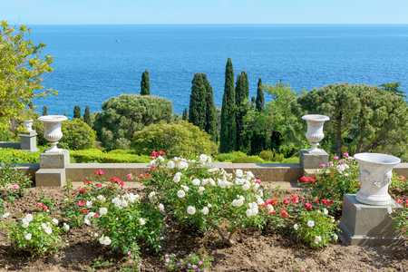 vorontsov: ALUPKA, RUSSIA - MAY 20, 2016: The garden in the Vorontsov Palace. Vorontsov Palace is one of the attractions of the Crimea.