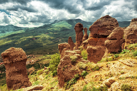 ghost rock: Valley of ghosts - rock formations of the Demerdji mountain. Landscape of Crimea, Russia. Stock Photo