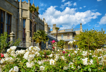 vorontsov: ALUPKA, RUSSIA - MAY 20, 2016: Garden at Vorontsov Palace in the town of Alupka. Vorontsov Palace is one of the attractions of the Crimea.