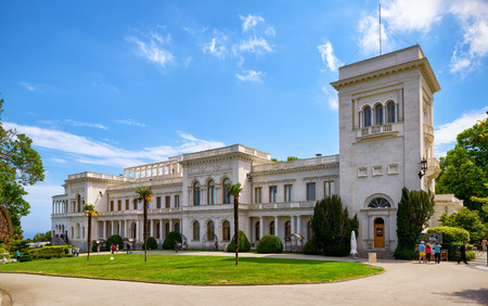 Russian palace: LIVADIA, RUSSIA - MAY 17, 2016: Livadia Palace near city of Yalta. Livadia Palace in Crimea was a summer retreat of the last Russian tsar, Nicholas II. The Yalta Conference was held there in 1945.