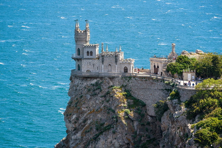 The famous castle Swallows Nest on the rock in the Black Sea in Crimea, Russia Editorial