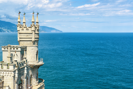 The famous castle Swallows Nest on the rock in the Black Sea, Russia. This castle is a symbol of Crimea. Editorial