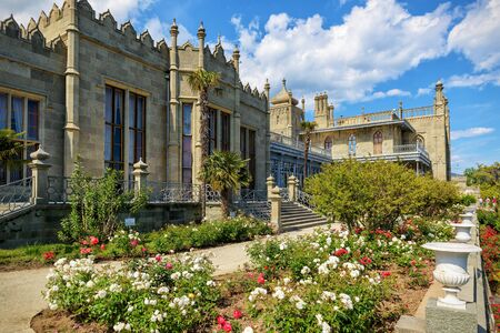 vorontsov: ALUPKA, RUSSIA - MAY 20, 2016: Vorontsov Palace in the town of Alupka. Vorontsov Palace is one of the attractions of the Crimea.