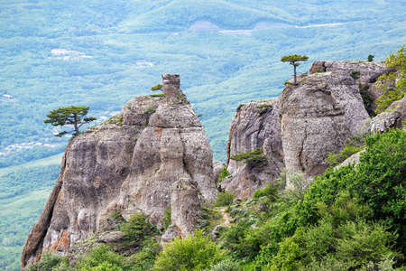 Valley of Ghosts on the Demerdji mountain. Landscape of Crimea, Russia. Stock Photo
