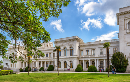 Russian palace: LIVADIA, RUSSIA - MAY 17, 2016: Livadia Palace near city of Yalta. Livadia Palace was a summer retreat of the last Russian tsar, Nicholas II. The Yalta Conference was held there in 1945.