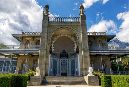 alupka: ALUPKA, RUSSIA - MAY 20, 2016: Vorontsov Palace in the resort town of Alupka. This palace is one of the attractions of the Crimea.