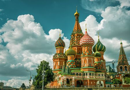 The Cathedral of Vasily the Blessed (St. Basil`s Cathedral) on the Red Square in Moscow, Russia