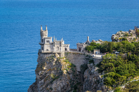 alupka: The castle Swallows Nest on the rock in the Black Sea in Crimea, Russia Editorial