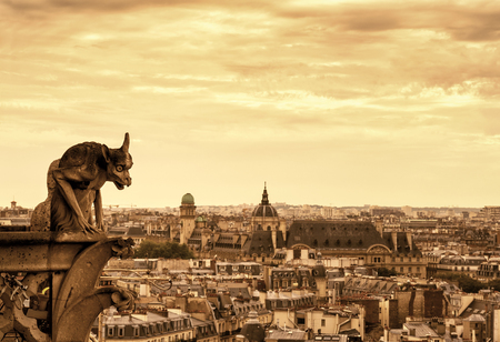gargouille: Chimera (gargoyle) of the Cathedral of Notre Dame de Paris overlooking Paris, France Banque d'images