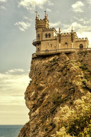 Swallows Nest castle on the rock in the Black Sea in Crimea, Russia Editorial