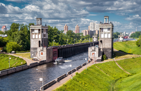 Floodgates on the Moscow canal, Russia
