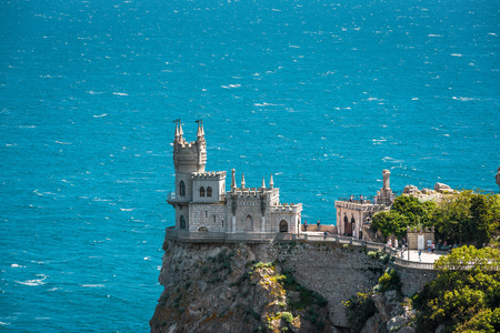 alupka: The famous castle Swallows Nest on the rock over the Black Sea in Crimea, Russia