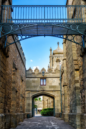 vorontsov: ALUPKA, RUSSIA - MAY 20, 2016: Shuvalov Passage - a medieval street in the Vorontsov Palace. This palace is one of the attractions of the Crimea. Editorial