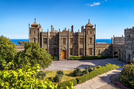 alupka: ALUPKA, RUSSIA - MAY 20, 2016: Vorontsov Palace in the town of Alupka, Crimea. This is a tourist attraction of the Crimea.