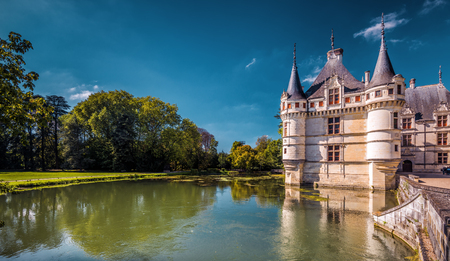 The chateau de Azay-le-Rideau, France. This castle is located in the Loire Valley, was built from 1515 to 1527, one of the earliest French Renaissance chateaux.