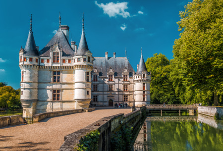 the loire: The chateau de Azay-le-Rideau, France. This castle is located in the Loire Valley, was built from 1515 to 1527, one of the earliest French Renaissance chateaux.