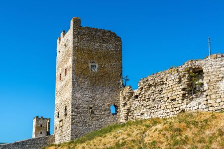 genoese: The Ruins of Genoese fortress in ancient city of Feodosia, Crimea, Russia