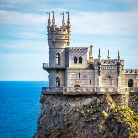 The castle Swallows Nest on the rock in the Black Sea in Crimea, Russia. This castle is a symbol of Crimea.