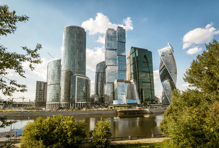 megapolis: MOSCOW - AUGUST 10, 2016: Skyscrapers of Moscow-City (Moscow International Business Center) over Moskva River. Moscow-city is a modern commercial district in central Moscow.