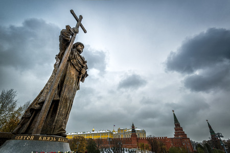 MOSCOW, RUSSIA - NOVEMBER 4, 2016: Monument to Holy Prince Vladimir the Great over the Kremlin. Vladimir is credited with the introduction of Orthodox Christianity.