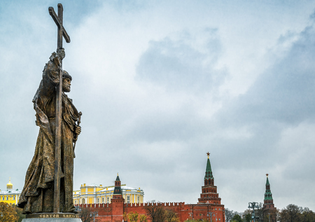 Monument to Holy Prince Vladimir the Great over the Kremlin. Vladimir is credited with the introduction of Orthodox Christianity.
