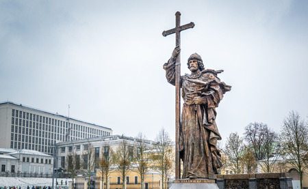 MOSCOW, RUSSIA - NOVEMBER 4, 2016: Monument to Holy Prince Vladimir the Great on Borovitskaya Square near the Kremlin. Vladimir is credited with the introduction of Orthodox Christianity.