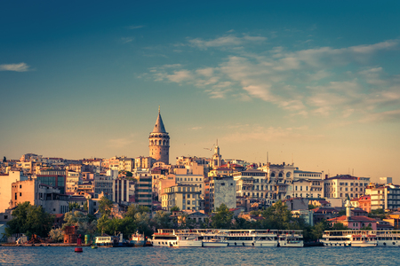 View of Galata district with Galata Tower over the Golden Horn in Istanbul, Turkey