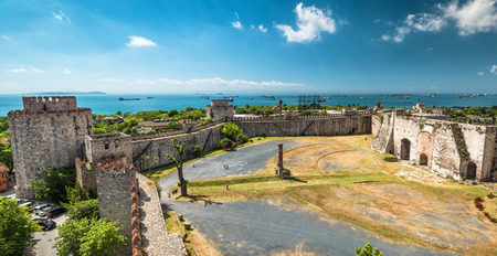 mehmed: Panoramic view of the Yedikule Fortress in Istanbul, Turkey. Yedikule fortress, or Castle of Seven Towers, is the famous fortress built by Sultan Mehmed II in 1458.
