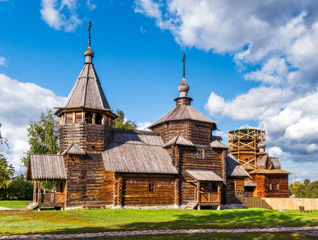The traditional russian wooden church for tourists in the ancient town of Suzdal, Russia. Golden Ring of Russia.