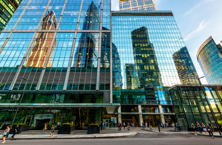 MOSCOW - AUGUST 10, 2016: Street with skyscrapers in Moscow-city (Moscow International Business Center). Low angle view.