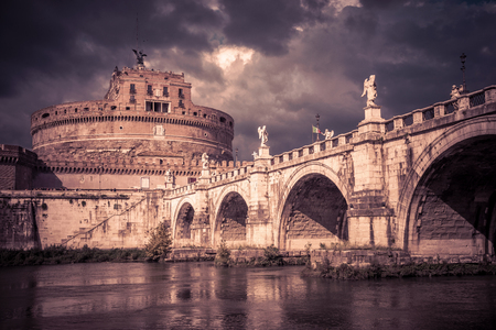 Castel SantAngelo (Castle of Holy Angel) and ponte SantAngelo (bridge of Angel) in Rome, Italy
