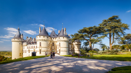 Panoramic view of Chateau de Chaumont-sur-Loire, France. This famous castle is located in the Loire Valley, was founded in the 10th century and was rebuilt in 15th. Stock Photo
