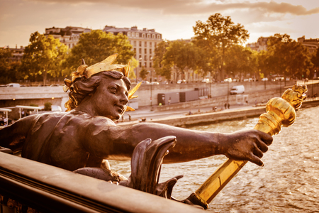 Detail of the Pont Alexandre III, the Nymphs of the Seine relief, in Paris, France. This bridge was named after russian Tsar Alexander III.