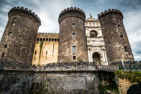 crenelation: The royal Castel Nuovo (New Castle), residence of the medieval kings of Naples, Italy Stock Photo