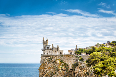 alupka: Swallows Nest castle on the rock over the Black Sea in Crimea, Russia. This castle is a symbol of Crimea. Stock Photo