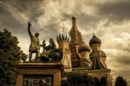 St. Basil`s Cathedral and monument to Minin and Pozharsky on the Red Square in Moscow, Russia Stock Photo