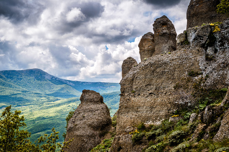 The rock formations of the Demerdji mountain. Valley of Ghosts. Landscape of Crimea, Russia.