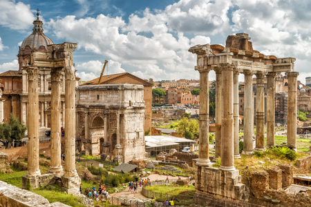 national historic site: Ruins of the Roman Forum in Rome, Italy. The Roman Forum is the remains of architecture of the Roman Empire and is one of the main tourist attractions of Rome.