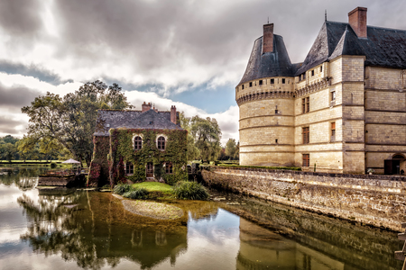 The castle chateau de lIslette, France. This Renaissance castle is located in the Loire Valley, was built in the 16th century and is a tourist attraction.