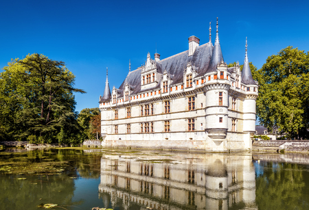 The chateau de Azay-le-Rideau, France. This castle is located in the Loire Valley, was built from 1515 to 1527, one of the earliest French Renaissance castle.
