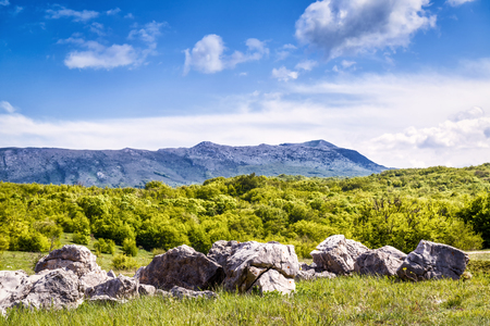 Natural stones on the background of Chatyr-Dah mountain. Landscape of Crimea, Russia.