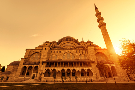 The Suleymaniye Mosque at sunset in Istanbul, Turkey. The Suleymaniye Mosque is the largest mosque in the city, and one of the best-known sights of Istanbul.