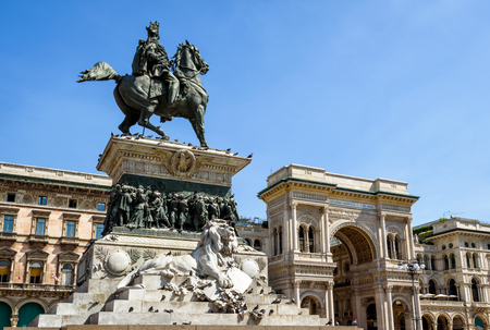 Monument to Vittorio Emanuele II and Galleria Vittorio Emanuele II on the Piazza del Duomo (Cathedral Square) in central Milan, Italy. This gallery is famous tourist attraction of Milan.