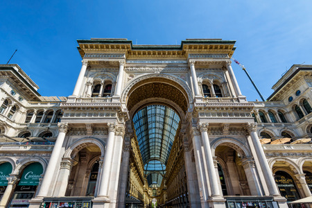MILAN, ITALY - MAY 15, 2017: The Galleria Vittorio Emanuele II on the Piazza del Duomo (Cathedral Square). This gallery is one of the worlds oldest shopping malls and tourist attraction of Milan. Editorial