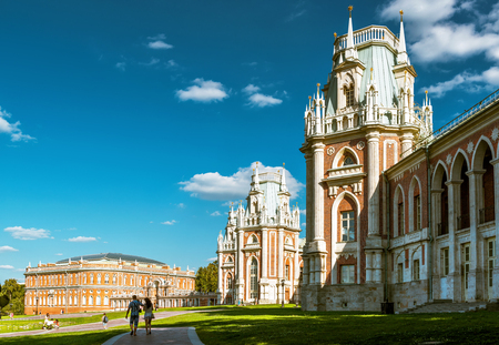 MOSCOW - AUGUST 11, 2015: The grand palace of queen Catherine the Great in Tsaritsyno. Tsaritsyno - the largest in Europe, pseudo-Gothic building of the XVIII century.