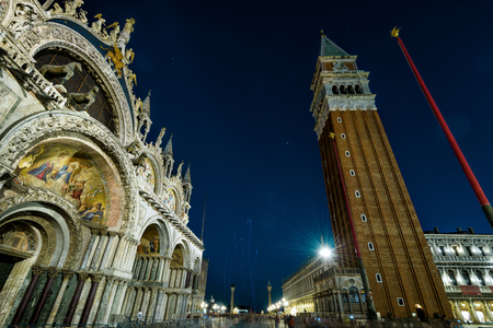saint mark square: Basilica di San Marco (Saint Mark`s Basilica) and Campanile in the Piazza San Marco at night in Venice, Italy. This is the main square of Venice.